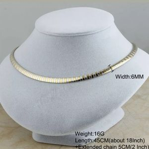 2 tone omega necklace 6mm stainless steel
